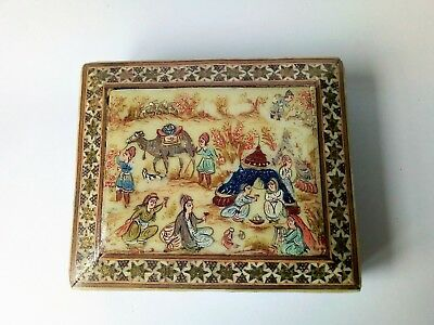 Antique mosaic khatam trinket box, hand painted with traditional Eastern scene.