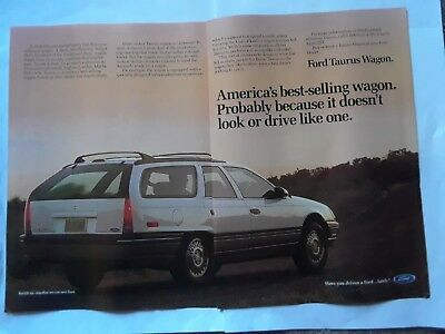 Ford Taurus Wagon 1988 mag ad 2 pages Vintage