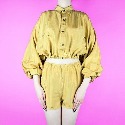VINTAGE Reworked Set Two Piece Yellow Silk High Waist Short Shirt Blouse Top S 8