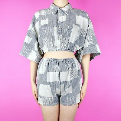 VINTAGE Reworked White Grey Check 90s Set Two Piece High Waist Short Shirt Top 8
