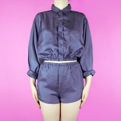 VINTAGE Reworked 90s 80s Blue Silk Set Two Piece High Waist Short Shirt Top XS 6