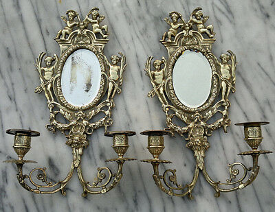 Antique French 19thC Bronze Cherub Putti Wall Sconces Oval Mirror Candelabras