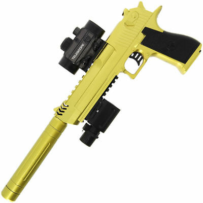 Automatic USB Kids Rapid Fire GEL SOFT Water Crystal Bullet Toy Gun Gold 2019