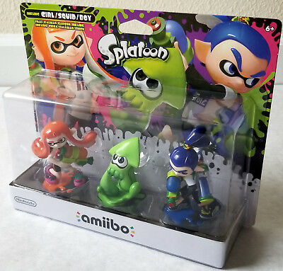 Nintendo Splatoon Amiibo 3-pack Orange Girl/Green Squid/Blue Boy - NiB - US