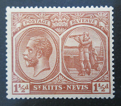 St. Kitts Nevis 1925 KGV 1 1/2d  Red Brown  VF  MLH  Sc41  SG 40a