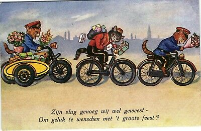 motorcycle side car CATS with flowers bicycle old artist postcard