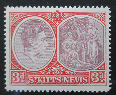 St. Kitts Nevis 1938 KGVI  3d Purple & Scarlet  Perf. 14  VF  MLH  Sc 84  SG 73a