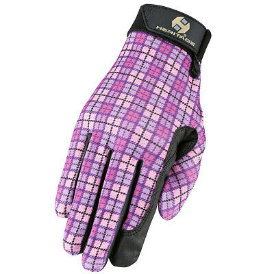 Size 5 Heritage Breathable Fabric Performance Horse Riding Gloves Pink Plaid