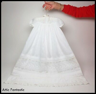 """Vintage Antique Baby Christening Gown Lace Broderie Anglaise 30"""" - Pearl Buttons"""