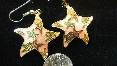 Pair of Vintage Cloisonne Gold Tone Starfish Earrings ESTATE JEWELRY