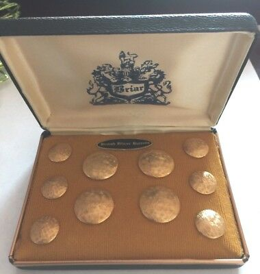 Vintage Briar British Blazer Buttons, Gold Plated