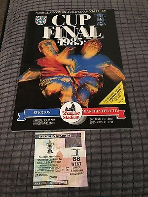 MANCHESTER UNITED v. EVERTON 1985 FA CUP FINAL PROGRAMME & TICKET