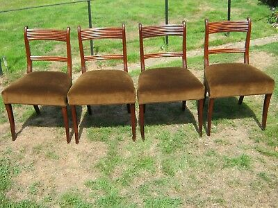 Stunning Set of 4 Regency Style Mahogany Dining Chairs with Sabre Legs