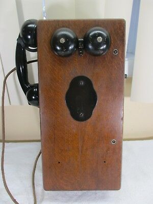 Antique Kellogg Switchboard Co. Hand Crank Generator Wood Box Wall Telephone