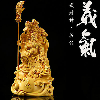 Boxwood Wood Carving Guan Yu Gong Statue Warrior God Handcarved Sculpture Amulet