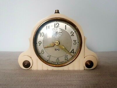 French Art Deco Bakelite Clock Working 1930s SMI Vintage