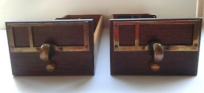 Pair of Vintage Card Catalog Drawers - circa 1950-60s - dovetail construction