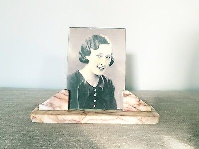 Stunning and Original Art Deco Pink Marble Photo Frame Vintage Rare