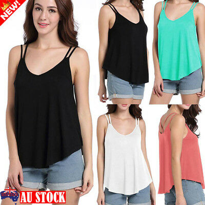 Women Summer Vest Top Sleeveless Strappy Casual Loose Tank Tops T-Shirt Tee Cami