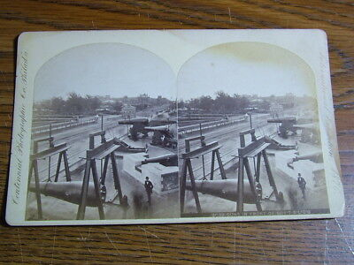 Stereoview of Large Cannon in Front of Govt Bldg. Centennial Expo 1876