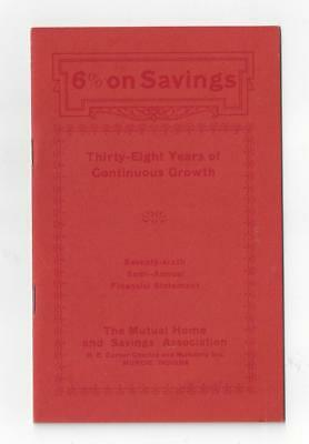 Mutual Home and Savings Association 1928 Booklet Muncie Indiana