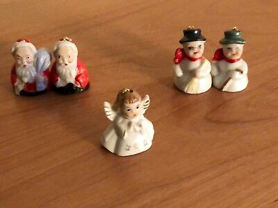 Vintage Porcelain Mini Christmas Figurine Bells Japan 40s/50s Santa, Angel Cute