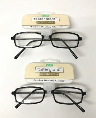 LOT OF 2 - Reading Glasses Foster Grant Reporter Black +1.50 NEW