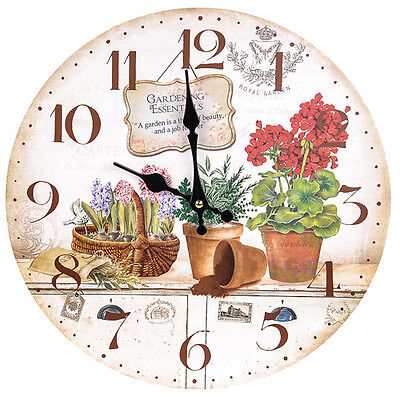 Vintage Country Shabby Chic   Wooden Wall Clock With Garden Pots Design