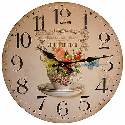 Vintage Shabby Chic Style French Teacup Belle Jardiniere Wall Wall Clock - NEW
