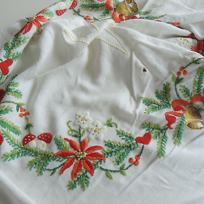 Beautifully embroidered vintage Swedish Christmas tablecloth, poinsettias, bells