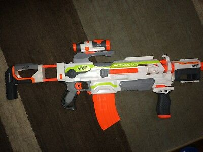 Nerf N-Strike Modulus ECS-10 w/ Stock, barrel extension, clip, scope & hand grip
