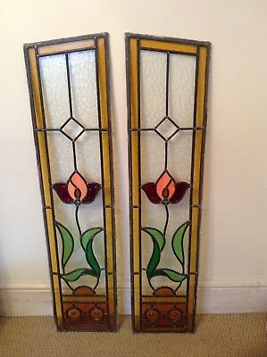 Reclaimed Vintage Art Deco Original Bevelled Stained Glass Door Panels Fantastic