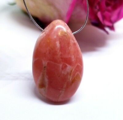RARE PINK RHODOCHROSITE SIDE DRILLED PENDANT TEARDROP BEAD 28mm 42.4cts X-Large