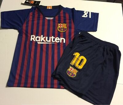 Barcelona Home Messi kids Soccer Jersey Youth Boys Set Child Shirt Medium 10-11