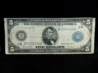 """1914 $5 Federal Reserve Note """"New York"""" 2B #3 East Coast Coin & Collectables Inc"""
