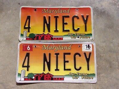 Maryland  Farm license plate Pair #   4  NIECY