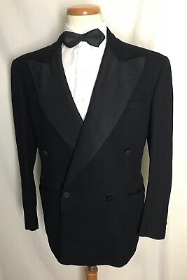 Vtg 30s/40s Double-Breasted Wool Tuxedo Jacket 40 R suit ART DECO wedding Tux