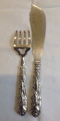 Fish Serving Set, Fork & Knife-Beautifully Decorated - Fish & Sailing Boat-EPNS