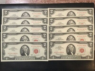 1963 United States Paper Money - 2 Dollars Red Seal Banknotes (Lot Of 10)!