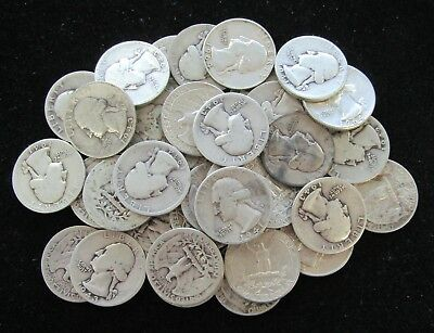 (40 Coins) $10 Face Washington 90% Silver Quarter 1 Roll - Mixed Dates; #8247