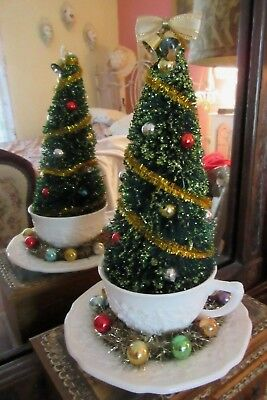 Small Decorated Christmas Tree Bottle Brush Vintage Milk Glass Cup Glass Balls