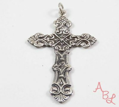 Sterling Silver Vintage 925 Beautiful Religious Cross Charm Pendant 4.7g 745777