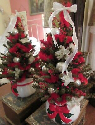 Small Decorated Christmas Tree Silk White Glass Balls Red Boa Victorian