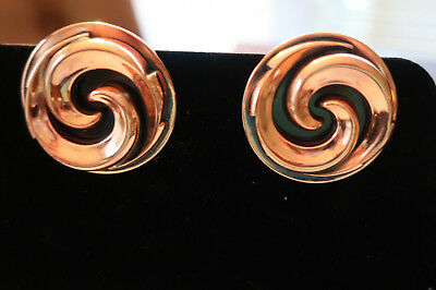RARE Unsigned Vintage Mid Century Modern Copper Round Clip-On Earrings 22 grs VG