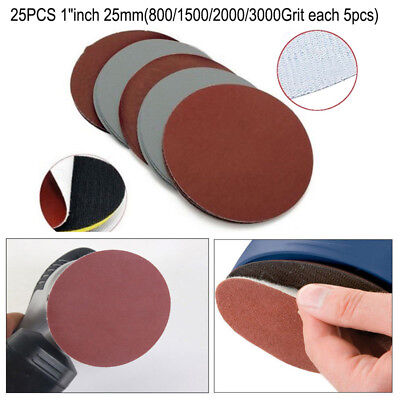 "25Pcs 1"" Grit Sanding Discs Hook Loop 800/1000/1500/2000/3000Grit Sandpaper New"