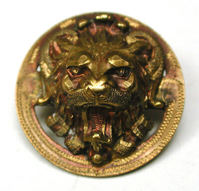 BB Antique Brass Button w/ a Snarling Lion Head Design - 3/4""""