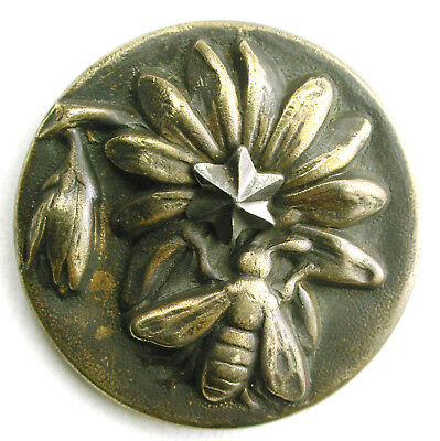 BB Antique Brass Button Bee on Flower  w/ Cut Steel Accent -1 & 1/16""