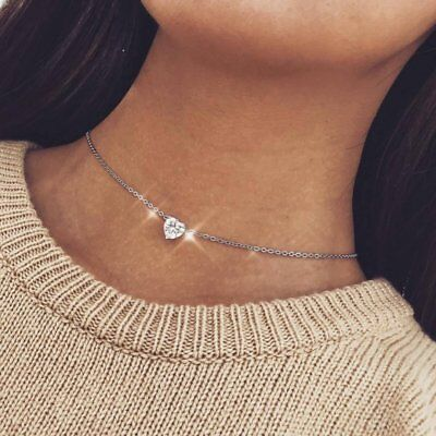 New Crystal Heart Charm Pendant Jewelry Chain Chunky Statement Choker Necklace