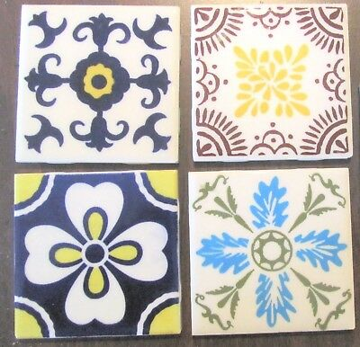 """Four (4) Vintage DAL-TILE Mexico Colorful Abstract Art Tiles - 4.25"""" x 4.25"""""""