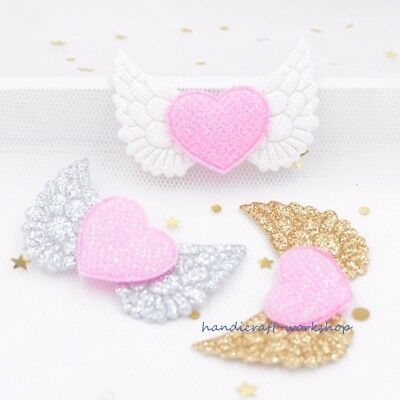 16Pcs Angel Wing Stick-on Heart Appliques Cupid Wing Fairy Wing Crafts Patches